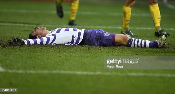 Marvin Braun of Osnabrueck looks dejected after he fails to score the 2nd goal during the 2nd Bundesliga match between VfL Osnabrueck and MSV...