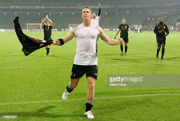 Marvin Braun of St.Pauli celebrates after the Third League match between Werder Bremen II and FC St.Pauli at the Weser stadium on April 24, 2007 in...