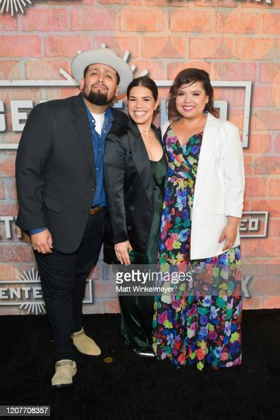 Marvin Bryan Lemus America Ferrera and Linda Yvette Chavez attends the premiere of Netflix's Gentefied at Plaza de la Raza on February 20 2020 in Los...