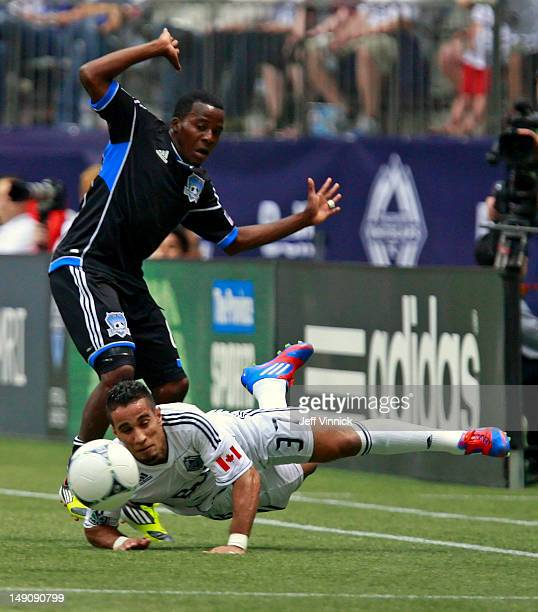 Marvin Chavez of the San Jose Earthquakes reacts after tripping Camilo of the Vancouver Whitecaps FC to the turf during their MLS game July 22 2012...