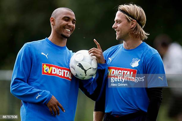 Marvin Compper and goalkeeper Timo Hildebrand chat before a training session of 1899 Hoffenheim during a training camp on June 30, 2009 in Stahlhofen...