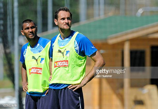 Marvin Compper and Josip Simunic look on during the TSG Hoffenheim first training session for the upcoming season 2010/2011 on July 16 2010 in...