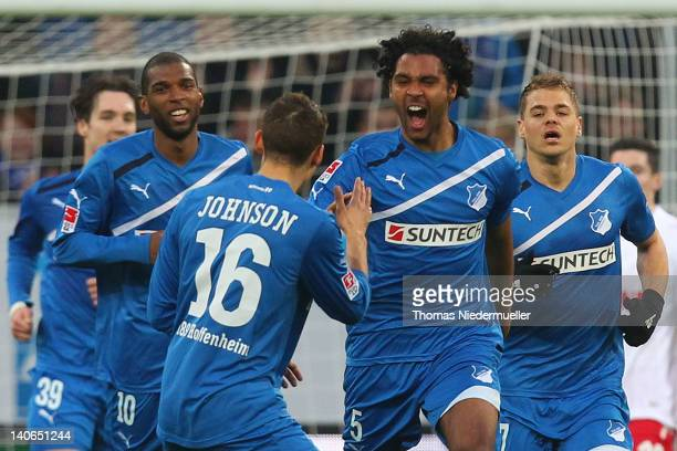 Marvin Compper of Hoffenheim celebrates his goal with Fabian Johnson of Hoffenheim during the Bundesliga match between 1899 Hoffenheim and 1 FC Koeln...