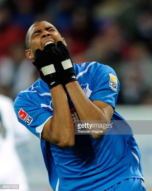 Marvin Compper of Hoffenheim reacts after a forgiven chance during the Bundesliga match between TSG 1899 Hoffenheim and Eintracht Frankfurt at...