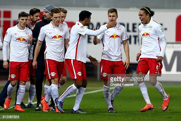 Marvin Compper of Leipzig celebrates the first goal wth Yussuf Poulsen of Leipzig during the 2 Bundesliga match between SC Paderborn and RB Leipzig...