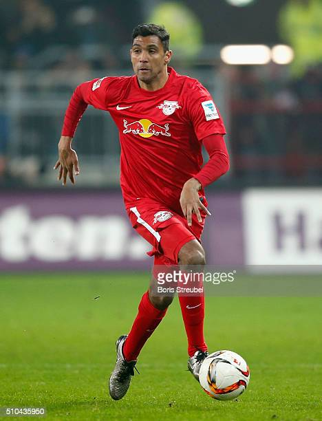 Marvin Compper of Leipzig runs with the ball during the Second Bundesliga match between FC St Pauli and RB Leipzig at Millerntor Stadium on February...