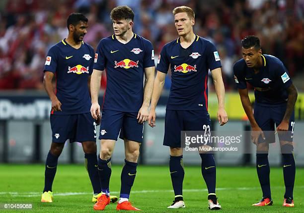 Marvin Compper Oliver Burke Marcel Halstenberg and Davie Selke of RB Leipzig wait for the corner during the Bundesliga match between 1 FC Koeln and...