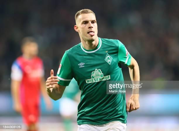 Marvin Ducksch of Bremen celebrates scoring his team's second goal during the Second Bundesliga match between SV Werder Bremen and 1. FC Heidenheim...