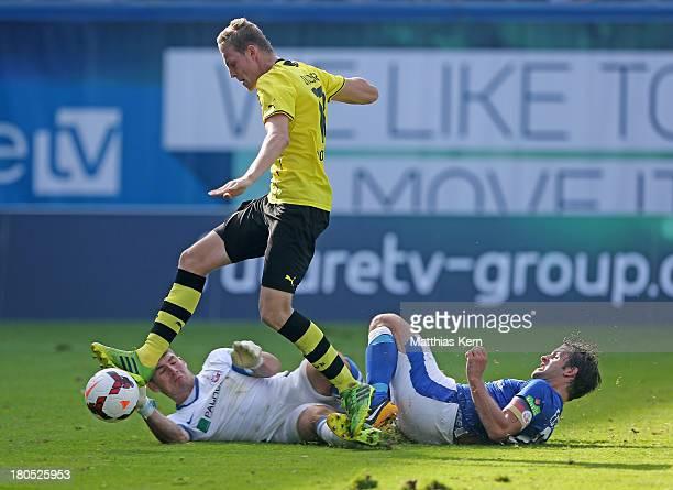 Marvin Ducksch of Dortmund scores the third goal during the third league match between FC Hansa Rostock and Borussia Dortmund II at DKBArena on...