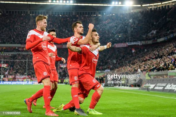 Marvin Duksch Kevin Stoeger and Kaan Ayhan celebratring the 21 lead during the Bundesliga match between Fortuna Duesseldorf and 1 FC Nuernberg at the...