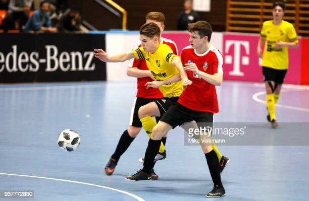 Marvin Dumslaff of Walheim fights for the ball during the final of the DFB Indoor Football match between VFB Eppingen and TSV Hertha Walheim on March...