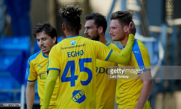 Marvin Egho and Benjamin Stokke of Randers FC celebrate after scoring their second goal during the Danish Superliga match between Randers FC and...