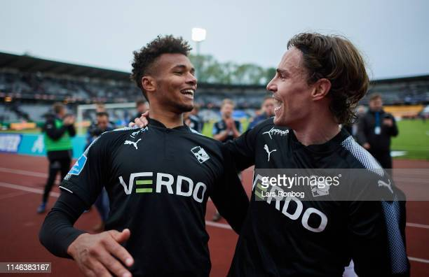 Marvin Egho and Erik Marxen of Randers FC celebrate after the Danish Superliga match between AGF Aarhus and Randers FC at Ceres Park on May 26 2019...