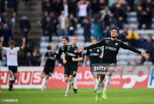 Marvin Egho of Randers FC celebrates after scoring their first goal during the Danish Superliga match between AGF Aarhus and Randers FC at Ceres Park...