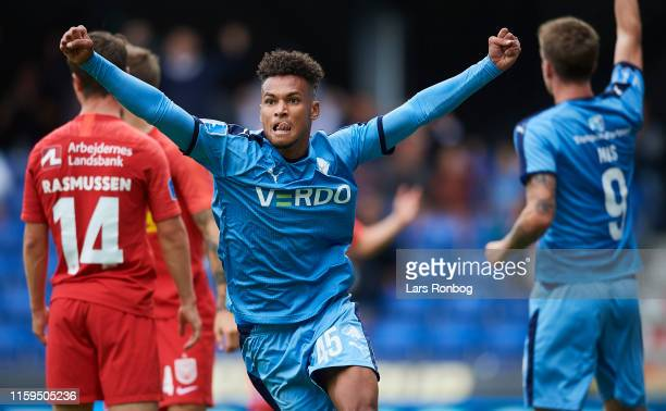 Marvin Egho of Randers FC celebrates after scoring their second goal during the Danish 3F Superliga match between Randers FC and FC Nordsjalland at...