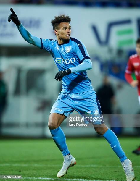Marvin Egho of Randers FC gestures during the Danish Superliga match between Randers FC and Vejle Boldklub at Cepheus Park on December 15 2018 in...