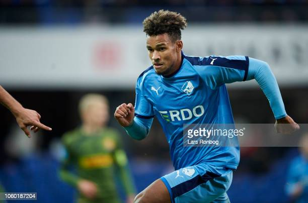 Marvin Egho of Randers FC in action during the Danish Superliga match between Randers FC and FC Nordsjalland at BioNutria Park on November 11 2018 in...