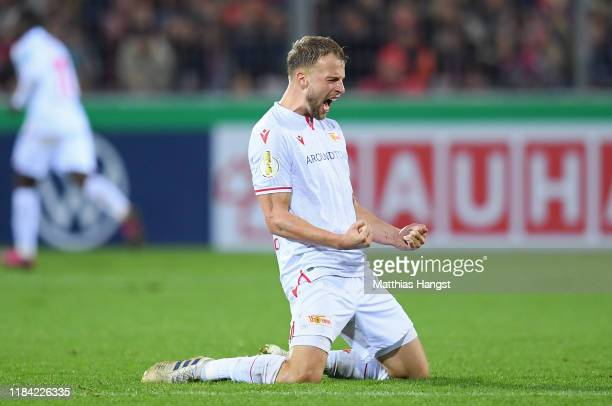 Marvin Friedrich of 1 FC Union Berlin celebrates his sides third goal during the DFB Cup second round match between SC Freiburg and 1 FC Union Berlin...