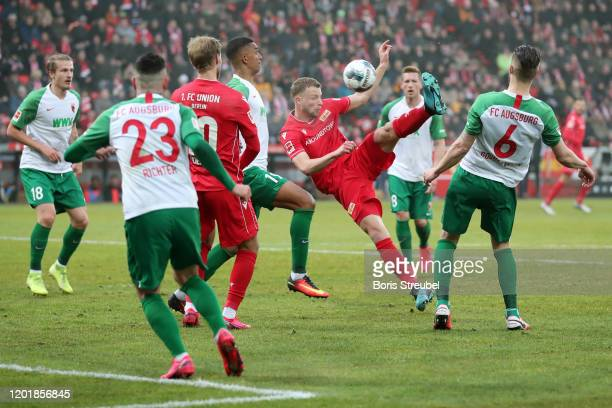 Marvin Friedrich of 1. FC Union Berlin performs a bicycle kick during the Bundesliga match between 1. FC Union Berlin and FC Augsburg at Stadion An...