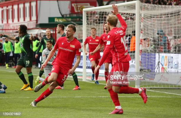 Marvin Friedrich of Berlin celebrates after scoring his team's second goal during the Bundesliga match between 1 FC Union Berlin and VfL Wolfsburg at...