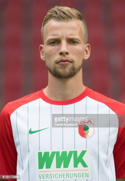 Marvin Friedrich of FC Augsburg poses during the team presentation at WWK Arena on July 17 2017 in Augsburg Germany