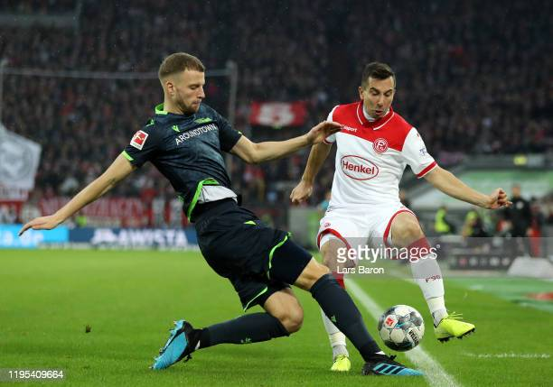 Marvin Friedrich of Union Berlin and Markus Suttner of Fortuna Dusseldorf during the Bundesliga match between Fortuna Duesseldorf and 1. FC Union...
