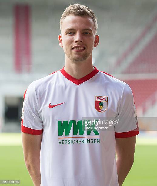 Marvin Friedrich poses during the Team Presentation of FC Augsburg on July 28 2016 in Augsburg Germany