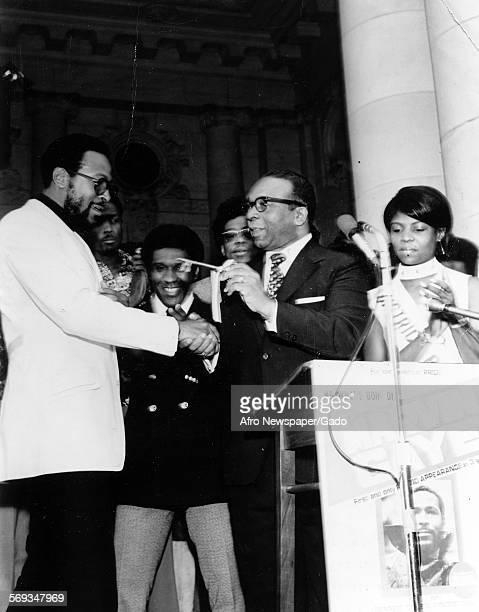 Marvin Gaye accepting key to the city from Walter E Washington, Washington DC, 1970.