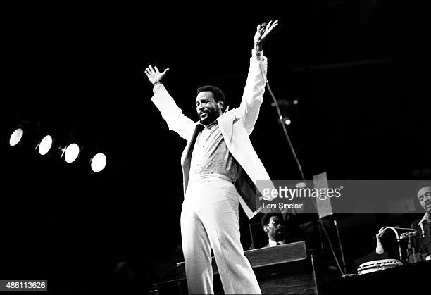 Marvin Gaye performs at the University of Detroit Fieldhouse in 1976 in Detroit, Michigan.