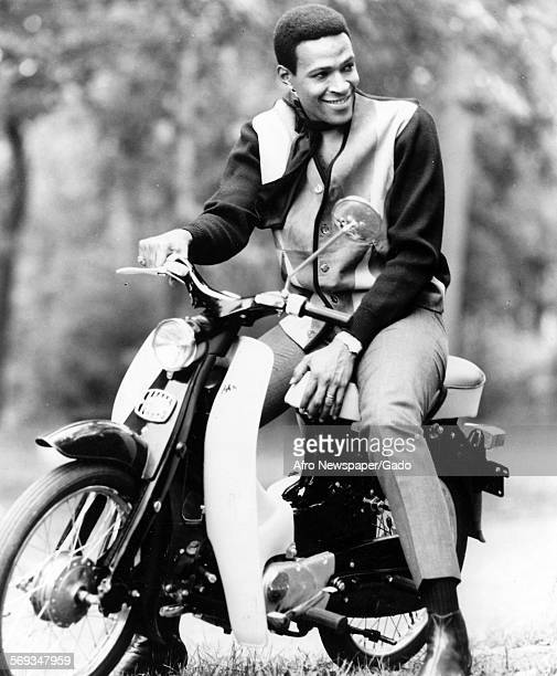 Marvin Gaye riding a motorcycle, 1961.