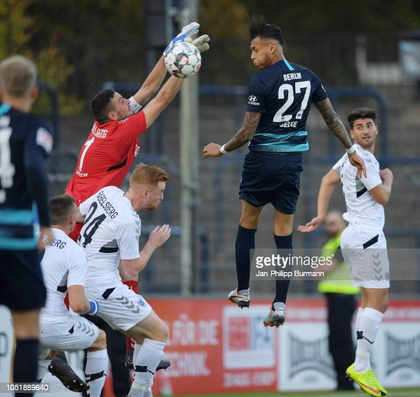 Marvin Gladrow Lukas Wilton of SV Babelsberg 03 and Davie Selke of Hertha BSC during the friendly match between Hertha BSC and the SV Babelsberg 03...