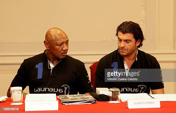 Marvin Hagler and Alberto Tomba attend the Laureus Academy Forum Session 3 held at Hotel Principe Di Savoia on November 18 2010 in Milan Italy