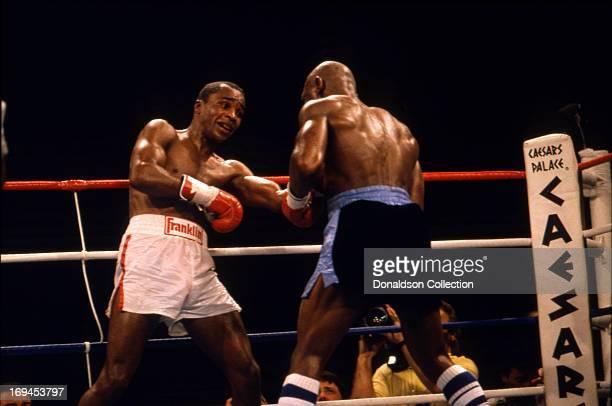 Marvin Hagler and Sugar Ray Leonard Boxing Match on April 6 1987 in Caesars Palace Las Vegas Nevada