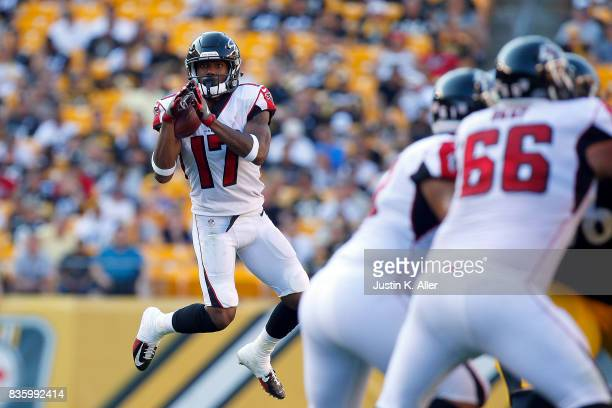 Marvin Hall of the Atlanta Falcons pulls in a pass against the Pittsburgh Steelers during a preseason game at Heinz Field on August 20 2017 in...