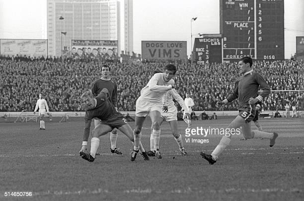 Marvin Hinton and Ken Shellito battle for the ball with Norman Hunter during the match between Chelsea and Leeds United on November 6 1965 at...