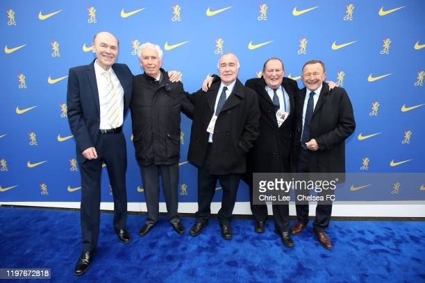 Marvin Hinton, Ron Harris, Tommy Baldwin, John Dempsey and John Hollins pose for a picture prior to the FA Cup Third Round match between Chelsea and...