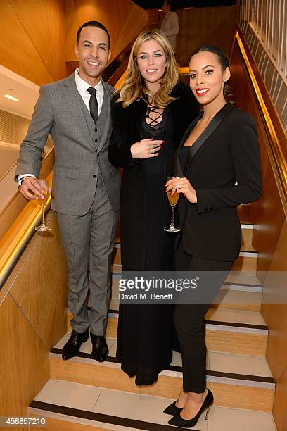 Marvin Humes Abbey Clancy and Rochelle Humes attend the #PandoraWishes campaign launch event Pandora Marble Arch flagship store London on November 12...