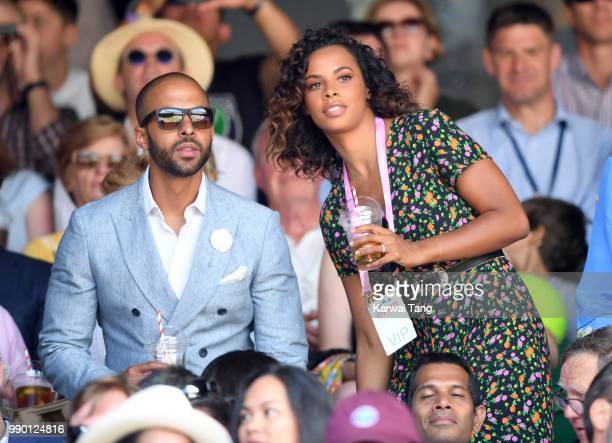 Marvin Humes and Rochelle Humes attend day one of the Wimbledon Tennis Championships at the All England Lawn Tennis and Croquet Club on July 2 2018...