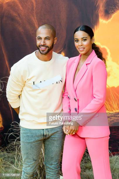 Marvin Humes and Rochelle Humes attend the European film premiere of Disney's 'The Lion King' at Odeon Luxe Leicester Square on 14 July 2019 in...