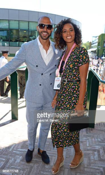Marvin Humes and Rochelle Humes attend the evian Live Young Suite at The Championship at Wimbledon on July 2 2018 in London England