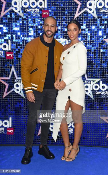 Marvin Humes and Rochelle Humes attend The Global Awards with Verycouk at the Eventim Apollo Hammersmith on March 7 2019 in London England