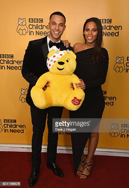 Marvin Humes and Rochelle Humes show support for BBC Children in Need at Elstree Studios on November 18 2016 in Borehamwood United Kingdom