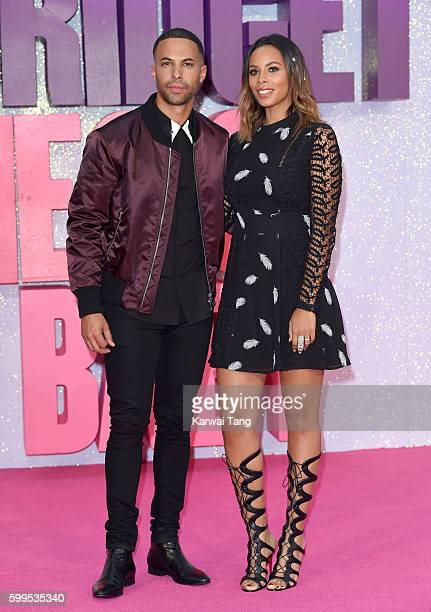 Marvin Humes and wife Rochelle arrives for the World premiere of Bridget Jones's Baby at Odeon Leicester Square on September 5 2016 in London England
