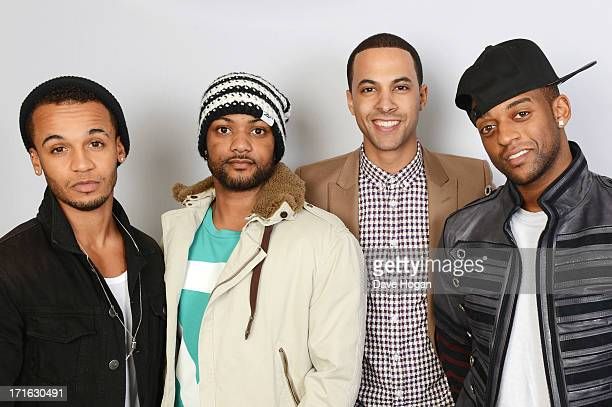 Marvin Humes Aston Merrygold Oritse Williams and JB Gill of JLS pose for a portrait to announce the band is splitting up on April 22 2013 in London...