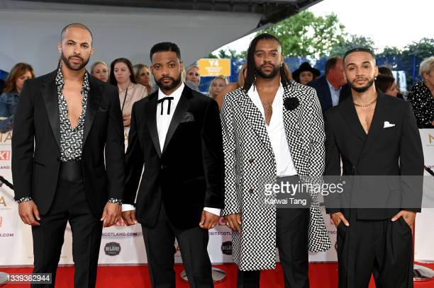 Marvin Humes, JB Gill, Oritsé Williams and Aston Merrygold of JLS attend the National Television Awards 2021 at The O2 Arena on September 09, 2021 in...