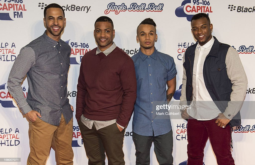 Marvin Humes, Jonathan JB Gill, Aston Merrygold and OritsŽ Williams of JLS attend the Capital FM Jingle Bell Ball at 02 Arena on December 8, 2012 in London, England.