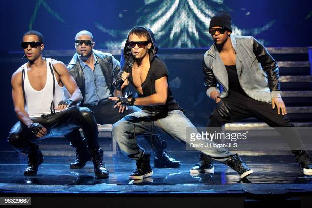 Marvin Humes Jonathan 'JB' Gill Aston Merrygold and Oritse Williams of JLS perform onstage in these pictures released on February 1 2010 at an...