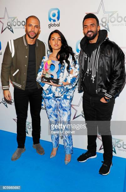 Marvin Humes Mabel McVey winner of the Rising Star award and Craig David attend The Global Awards 2018 at Eventim Apollo Hammersmith on March 1 2018...