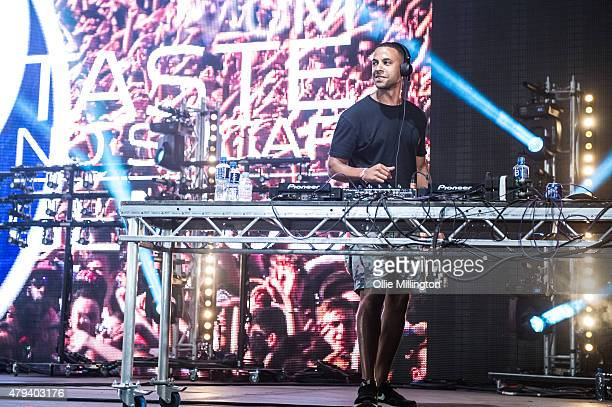 Marvin Humes of JLS performs DJing onstage presenting the Pepsi Max stage on day one of New Look Wireless Festival at Finsbury Park on July 3 2015 in...
