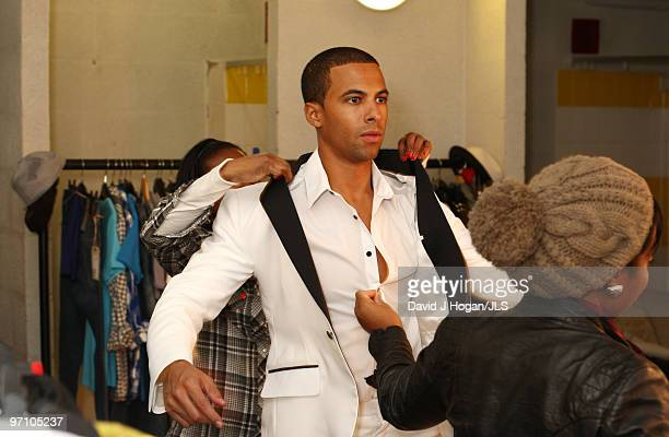 Marvin Humes of JLS prepares backstage ahead of a dress rehearsal show prior to the opening night of their JLS 2010 UK Tour